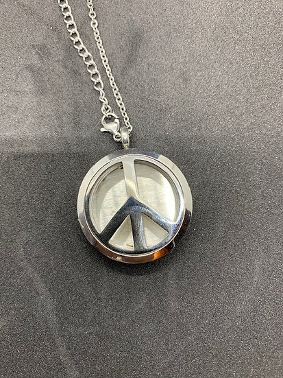 Stainless Steel Aromatherapy Necklace - Peace Sign