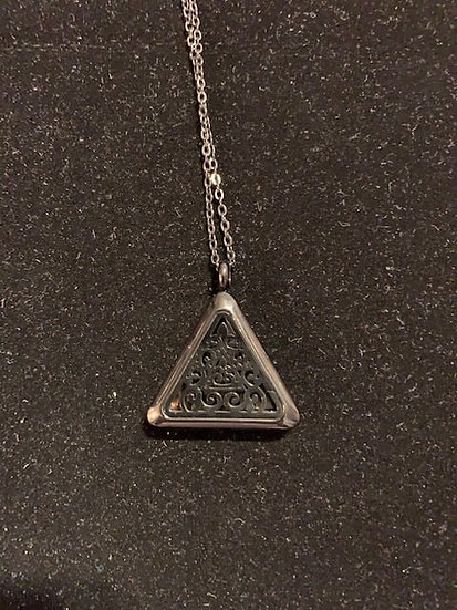 Silver Triangle Aromatherapy Necklace - Stainless Steel