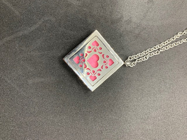 Stainless Steel Aromatherapy Necklace - Square with Hearts
