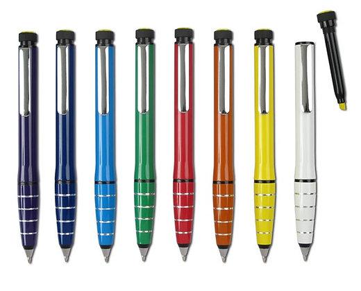 עט מתכת עם מרקר צהוב