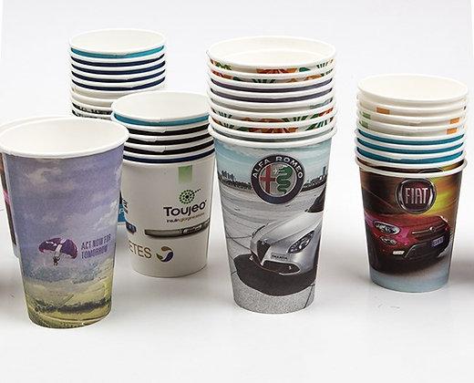 כוסות קרטון חד פעמיות עם לוגו