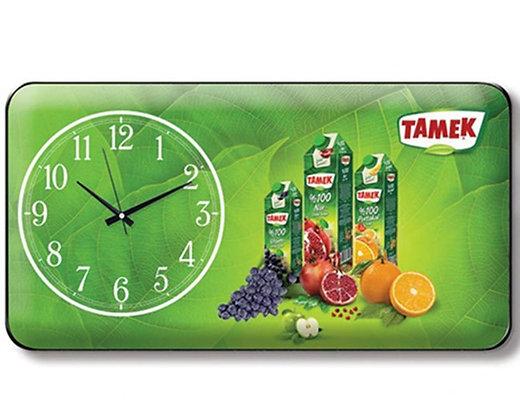 שעון קיר מלבני עם מיתוג צבעוני