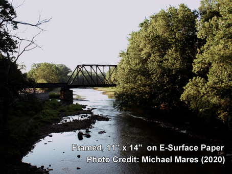 "AUCTION COMPLETE! ""Bridge Over the White River"" (11""x14"", July 2020, by Michael Mares)"