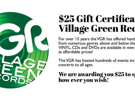 AUCTION COMPLETE! $25 Gift Certificate for Village Green Records