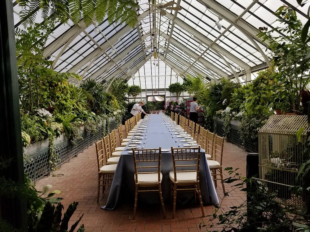 wedding dinner prep in conservatory