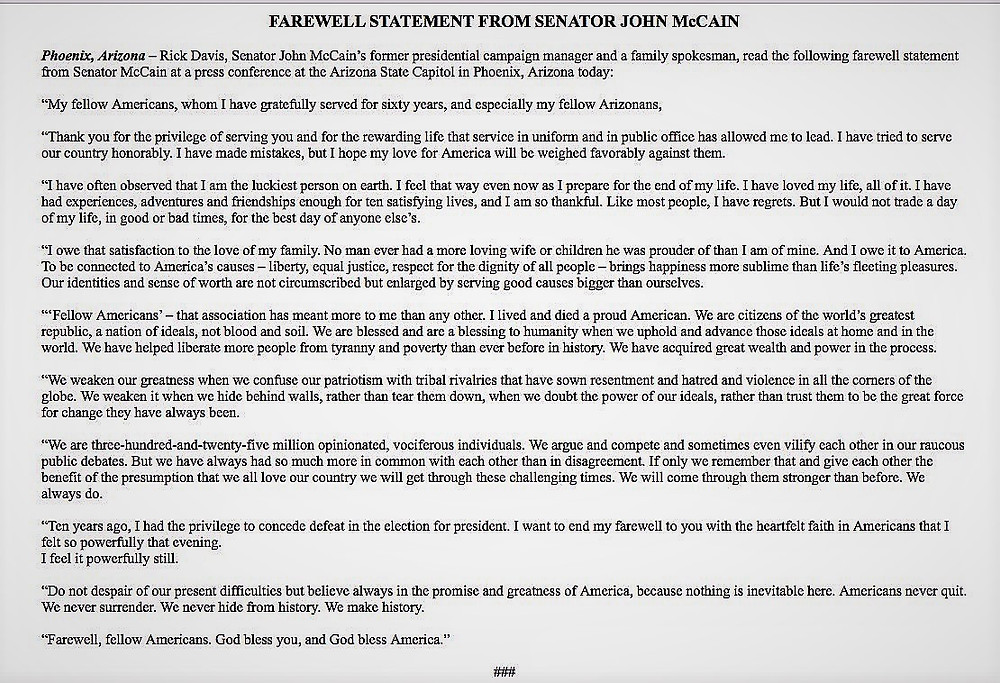 fairwell statement john mccain rose