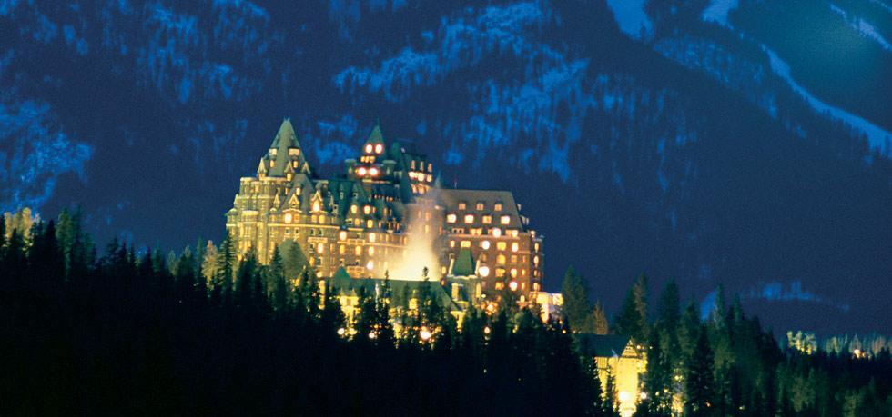 fairmont hotel at night banff