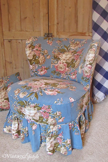 Sanderson floral slipcovered vintage chair