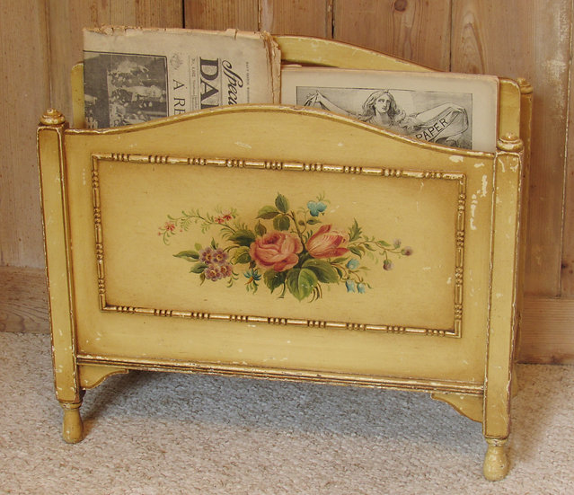1930's hand painted magazine rack holder full
