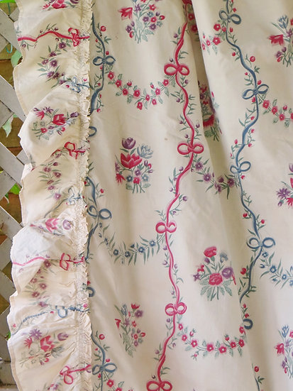 French Antique Braquenie Curtain Vintage