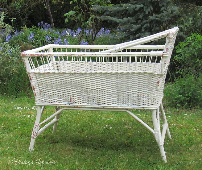 vintage wicker baby cot bed full view