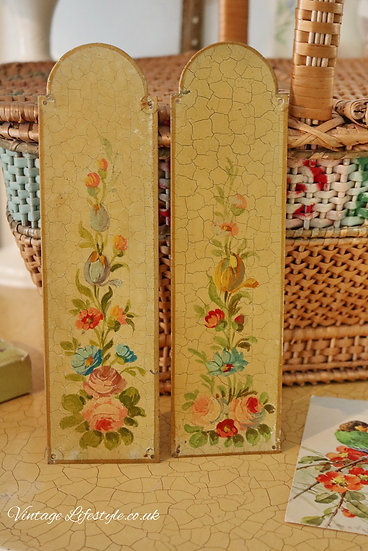 Floral Hand Painted Door Finger Plates antique