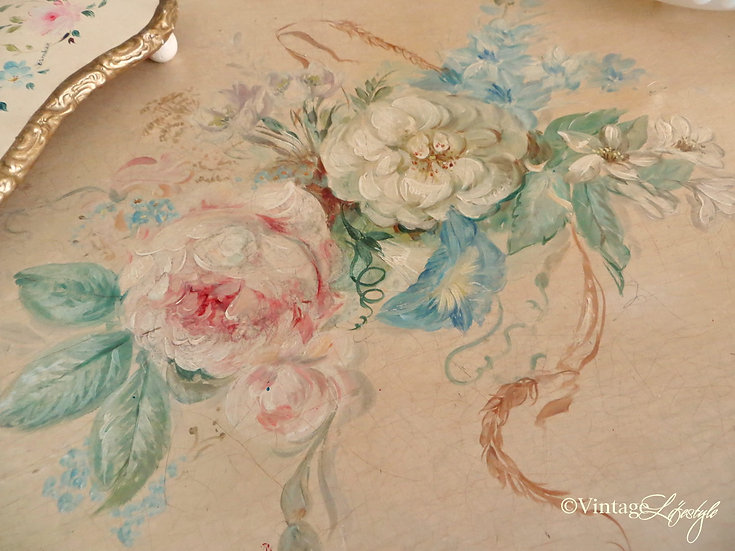 Close Up Hand Painted Roses Chest of Drawers vintage