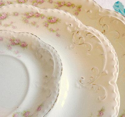 Antique Rose Garland Platters Edwardian