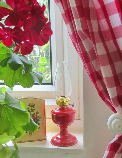 Red Enamel Oil Lamp