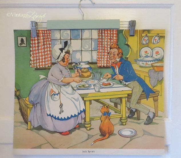 Jack Spratt 1950's Nursery Rhyme Print