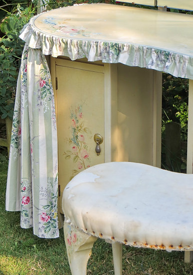 1930's Painted Floral Dressing Table cupboard door seat