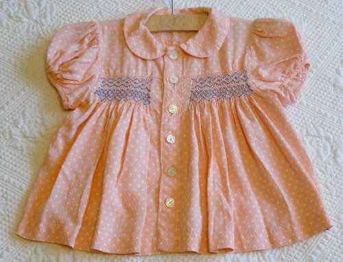 Pink Smocked Baby Blouse 1930's 1940's 1950's
