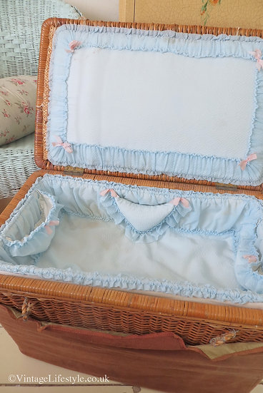 Beautiful 19th C. Baby Travelling Layette Basket inside