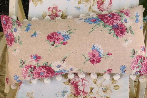 Linen Cushion  with Bobble Trim