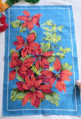 Poinsettia Linen Tea Towel christmas