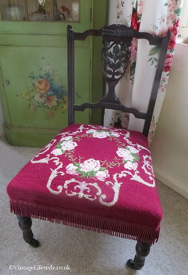 Victorian Roses Needlepoint Chair