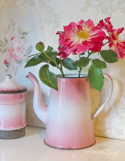 Pink French Enamel Coffee Pot with flowers