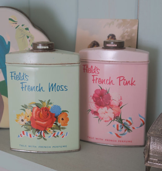 Field's french talc tin Moss Green floral