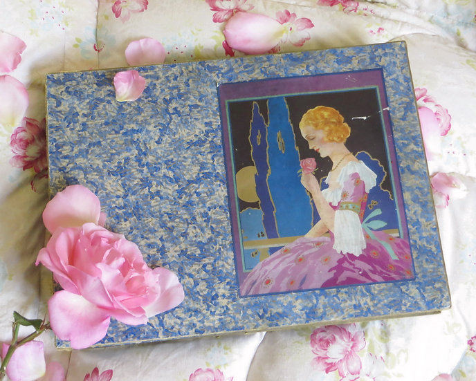 """1920's """"Lady with Rose"""" Box chocolate"""