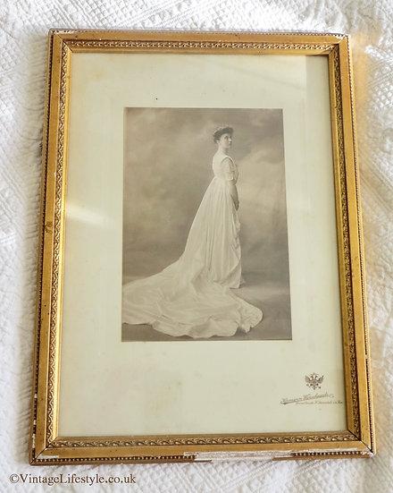Beautiful Edwardian Lady Framed Portrait Wedding Gown