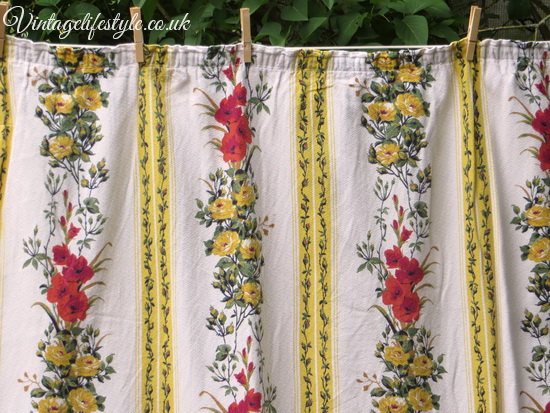 Gladiola and Roses Barkcloth Curtains