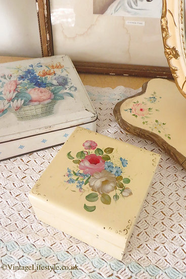 Hand Painted Floral Spray Box Trinket Vanity