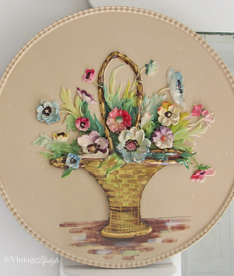 Vintage Floral Barbola wall plaque