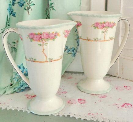 Pink Roses Myott Pitchers Vases