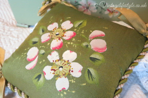 Early 20thC Hand Painted Blossom Pin Cushion