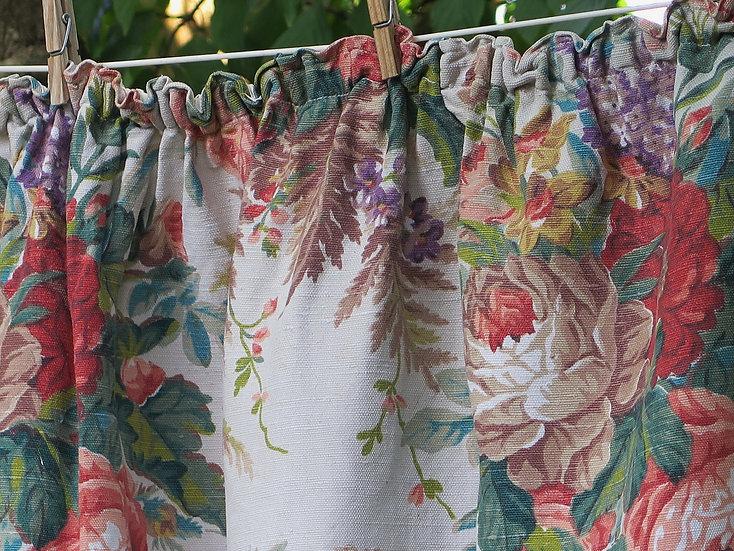 Large rustic 1940's floral linen vintage curtains