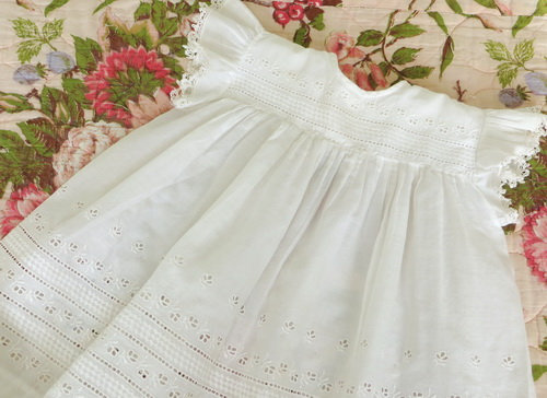 vintage Broderie Anglais Baby Dress Set