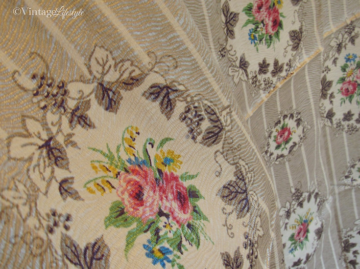 vintage cameo roses fabric watered silk close up