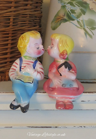 Vintage American Salt Pepper Shakers Boy girl kissing