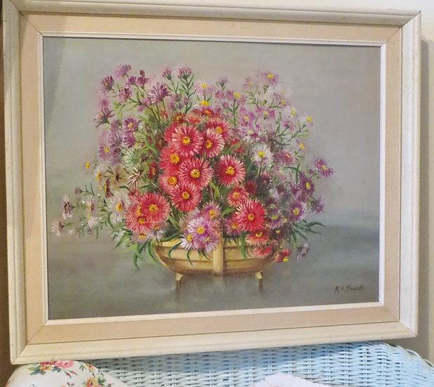 Pink Asters in Trug vintage oil painting