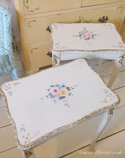 Pair of Floral Painted Tables