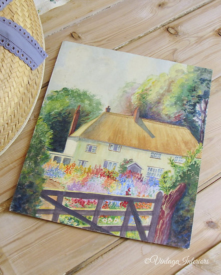 Vintage watercolour painting thatched cottage