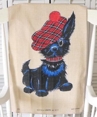 Linen Scottie Dog Tea Towel