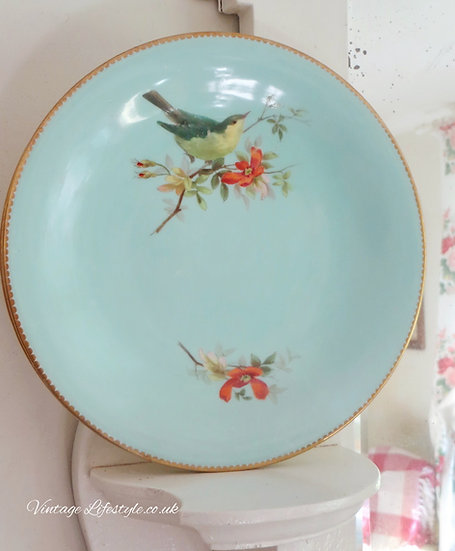 Pair Antique decorative plates Birds Blossom