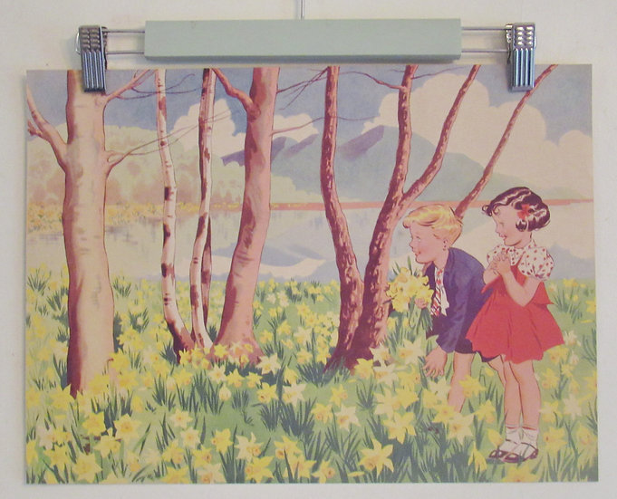 Vintage Children's prints illustration Floral spring