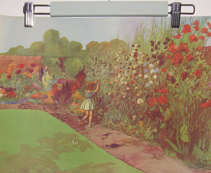 Pair of vintage Prints Children in Gardens