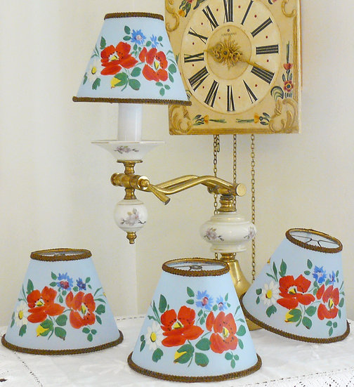 French Hand Painted Floral Lampshades