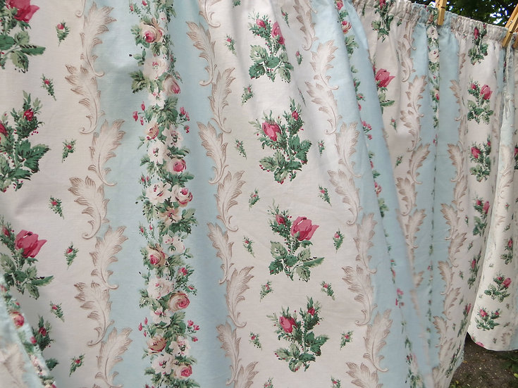 Rosebuds & Aqua Curtains