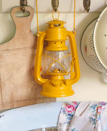 Yellow Enameled vintage Lantern