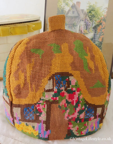 Vintage Needlepoint Cottage Tea Cosy